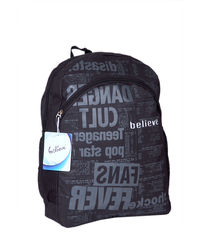 Trendy Newsprint Backpack,  black