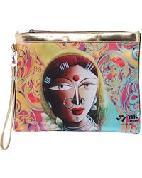 Wink Ideas Digital Printed Satin and Velvet Pouch For Women, yellow