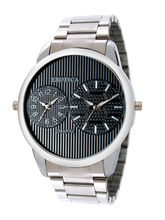 Exotica Men Water Resistance Fashion Watch, black, silver