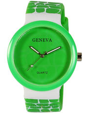 Womens Geneva Fashion Watch (GR-01-Green-White)