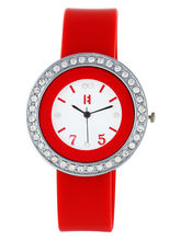 Excelencia White Dial & Red Strap Classic Analog W...
