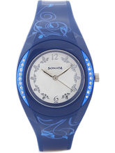 Sonata Analog Watch For Women, Blue, Silver