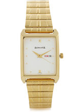 Sonata 7007YM03 Analog Watch For Men, Gold, Off Wh...