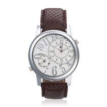Rico Sordi Mens Leather Watch, brown, white