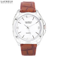 Laurels Original Diplomat 2 Series Men's Watch, tan, white