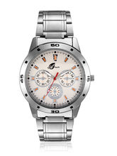 Arum Silver Round Analog Casual Watch For Men