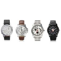 Mens Set Of 4 Watches - 2 Leather Watches And 2 Stainless Steel Watches, multicolor, multicolor