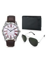 Rico Sordi Men PU leather watch with Leather wallet & Sunglass(3), brown, white