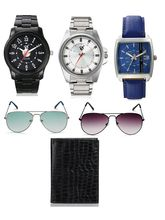 Rico Sordi Mens 3 watch, passport holder & 2 sunglass