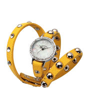 Exotica Women Water Resistance Fashion Watch, White, Yellow