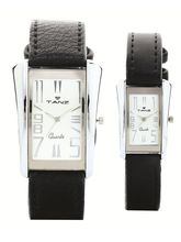 Tanz Designer Pair Watch -Ideal for gifting, silver, black