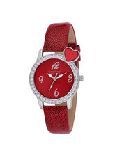 Ferry Rozer Red Dial Round Shape Leather Belt Analog Watch For Women