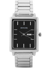Sonata 7078SM06 Analog Watch For Men, Silver, Blac...
