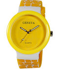 Womens Geneva Analog Display Watch (GR-01-Yellow-White)