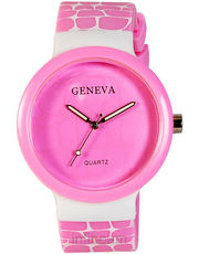 Womens Geneva Plastic Watch (GR-01-Pink-White)
