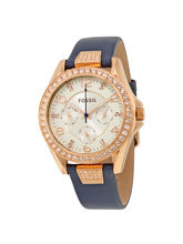 Fossil Riley Silver Dial Blue Leather Ladies Multi...