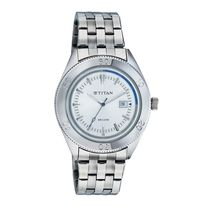 Titan Gents Watch 9324Sm02, silver, white