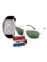 Chappin & Nellson gents Watch with Cooper Sunglass and a stylish letheraitte Wallet– CNG-18G, white, black