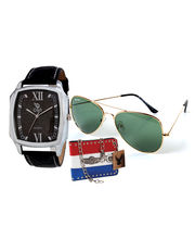 Chappin & Nellson Gents Watch With Cooper Sunglass And A Stylish Letheraitte Wallet– CNG-16B, Black, Black