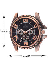 Ferry Rozer Black & Copper Dial Round Shape Leather Belt Analog Watch For Men