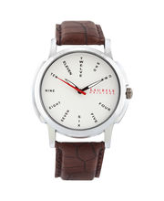 Laurels Original Gents Watch Lo-Mas-202, silver matt, dark brown
