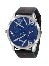 Exotica EF-85-Dual-Blue Gents Watch, Blue, Black