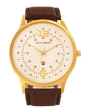 John Smith JS-10014-GRD Gents Watch, white, brown