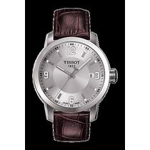 Tissot Leather Strap Men's Watch-T0554101603700, brown, silver