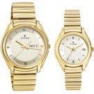 Titan Bandhan 15782489Ym05 Pair Watch, gold, champagne