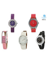 Oleva Set of 5 Trendy Ladies Watch