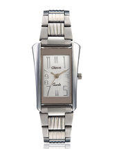 Oleva Ladies metal Watch with sliver stripe OSW-8 WHITE, white, silver