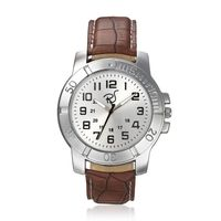 Mens Leather Watch, brown, silver
