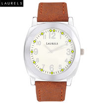 Laurels Gaucho Mens Watch, brown, pearl