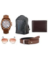 Rico Sordi Mens Set of 5 Combo(Watch, Sunglass, Wallet, Belt, Laptop Bag) RSD999