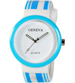 Geneva Womens Round Watch (GR-01-White-Blu)