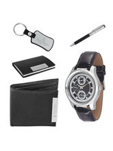 Ferry Rozer Black Combo Gift Set Of Watch, Wallet,...