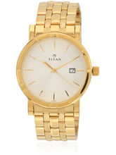 Titan 1639Ym01 Golden/White Analog Watch
