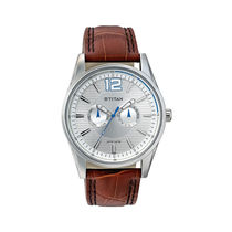 Titan Gents Watch 9322Sl05, brown, silver
