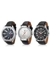 Rico Sordi Set of 3 Mens Leather Watches RSD16-S3-1, black, multicolor