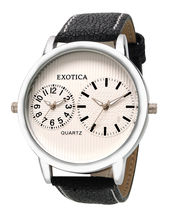 Exotica Men Water Resistance Fashion Watch, White, Black