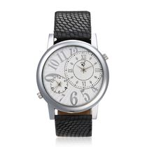 Mens Leather Watch, black, white