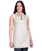 A Beautiful Cream Kurti With Ethnic Brown Thread Work All Over