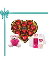 Chocholik's Legend Heart Shape Nicely Wrapped Chocolates With Cute Ted...