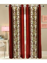La Elite Cute Leaves Print Door Curtain - Set Of 2...
